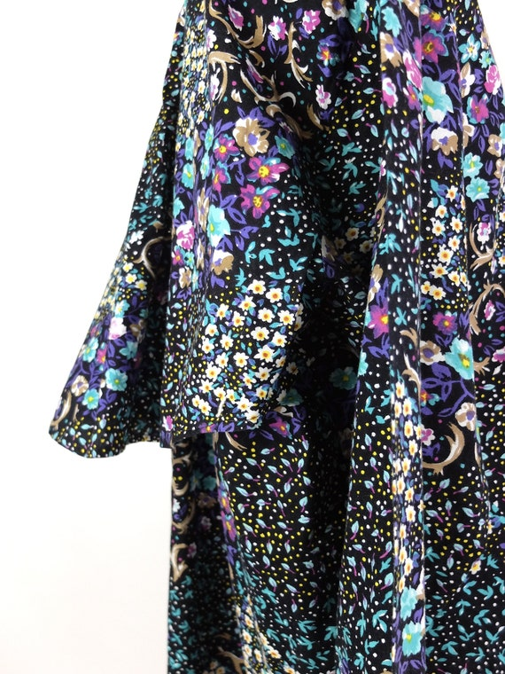 70s Western Prairie Psychedelic Floral Ruffled Lo… - image 9