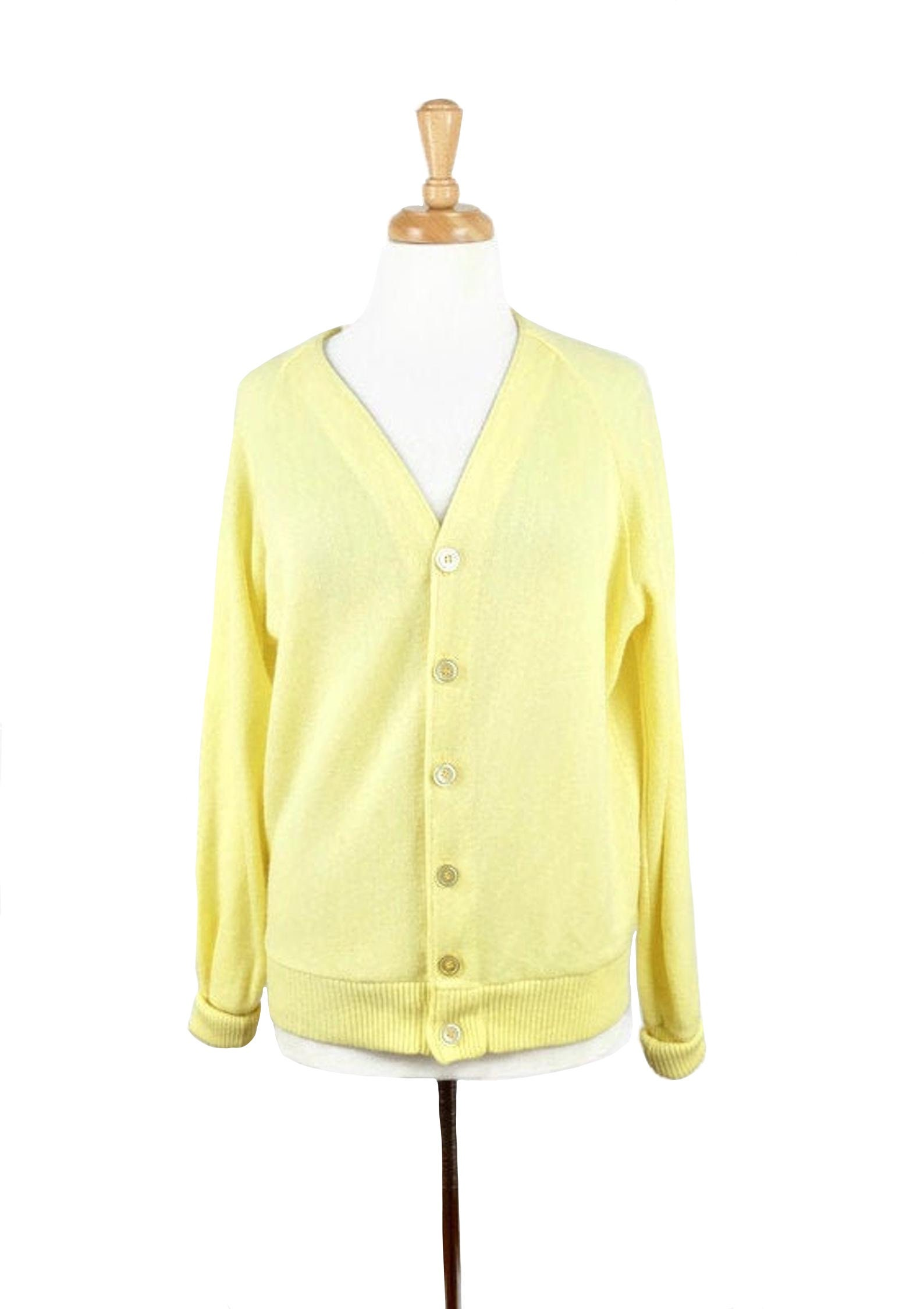 1950s Men's Ties, Bow Ties – Vintage, Skinny, Knit Vintage 1950s Mod Preppy Pastel Yellow Knit Button Down V-Neck Sweater Cardigan $37.40 AT vintagedancer.com