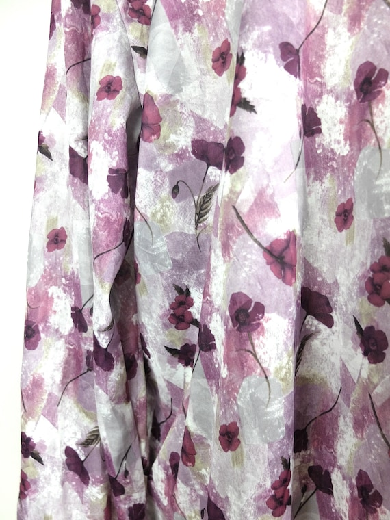 70s Mod Purple Floral Collared Long Sleeve Button… - image 6