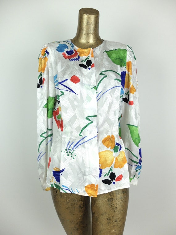 70s Silky Abstract Floral Long Sleeve Button Up V… - image 4