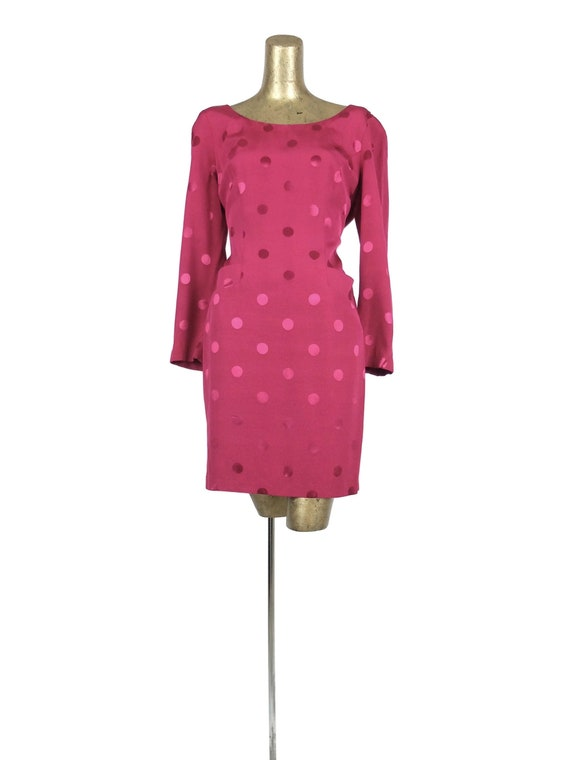 70s Glam Rock Hot Pink Polka Dot Long Sleeve Going