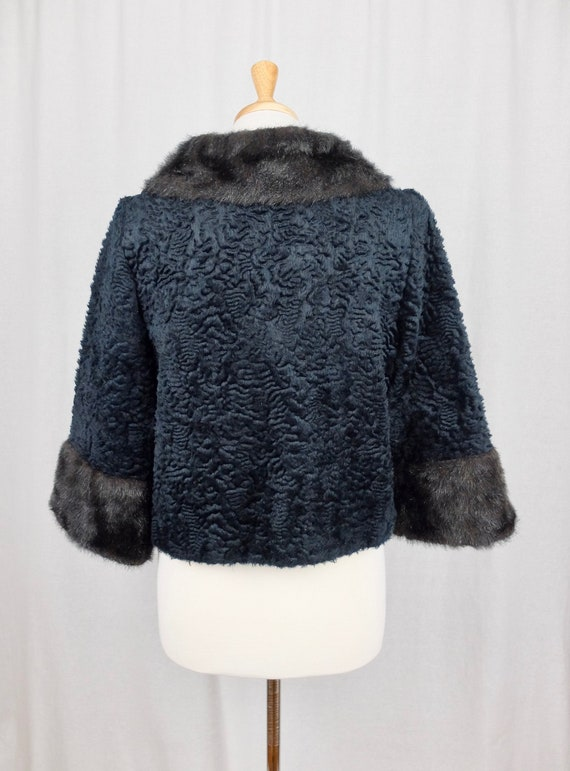 Vintage 1940's Mod Style Black Sheepskin and Fur … - image 5