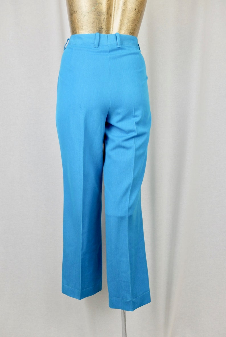 Vintage 1980/'s does 60/'s Mod Bright Blue High Waisted Straight Leg Pleated Trouser Pants