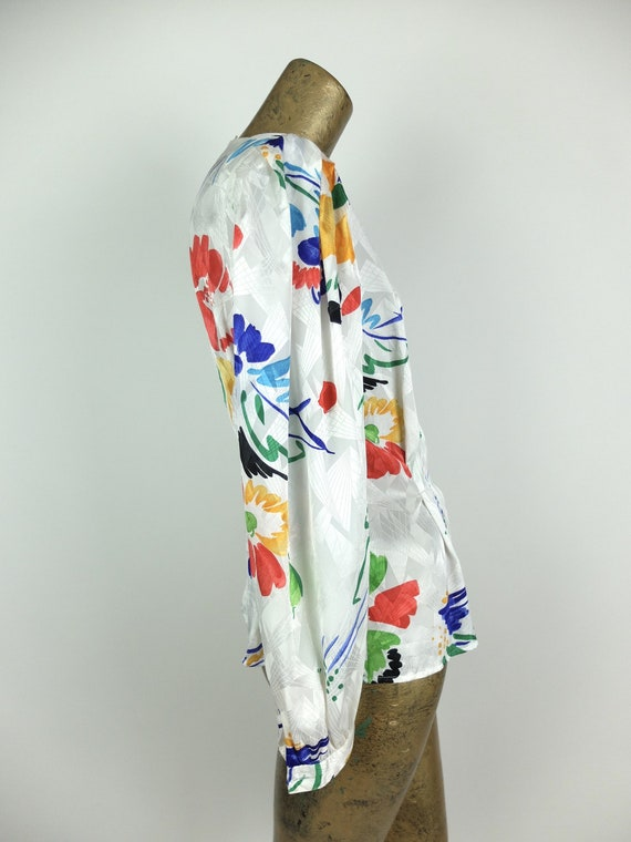 70s Silky Abstract Floral Long Sleeve Button Up V… - image 5