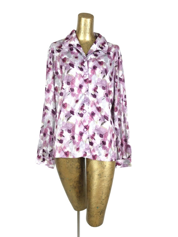 Vintage 70s Mod Purple Floral Collared Long Sleeve
