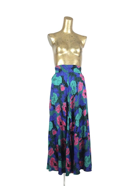 Vintage 80s Bright Abstract Floral Print High Wais