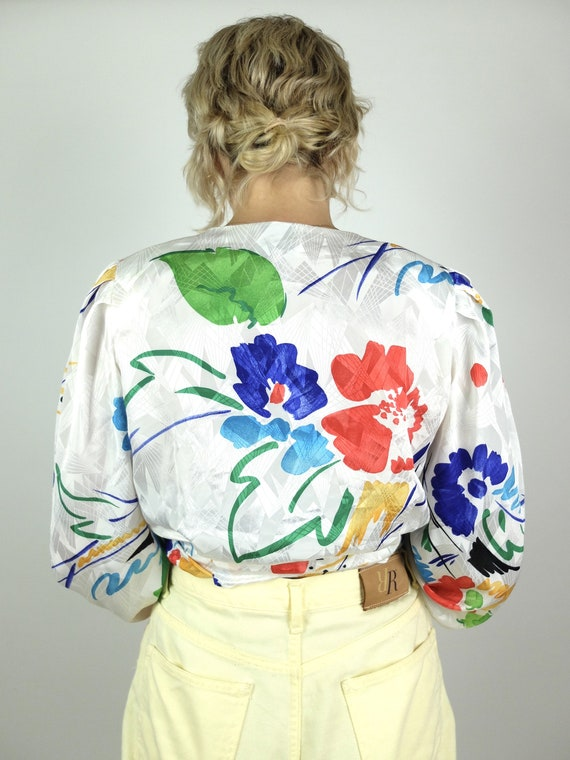 70s Silky Abstract Floral Long Sleeve Button Up V… - image 3