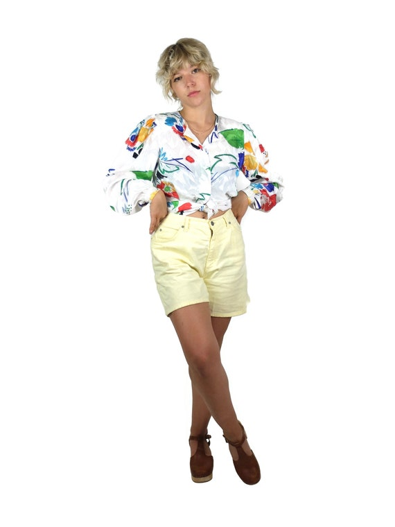 70s Silky Abstract Floral Long Sleeve Button Up V… - image 1