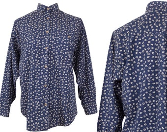 Vintage 80s Floral Cotton Long Sleeve Button Up Shirt | Mod Prairie Cottagecore Hippie Navy Blue & White Collared | Size Small | S