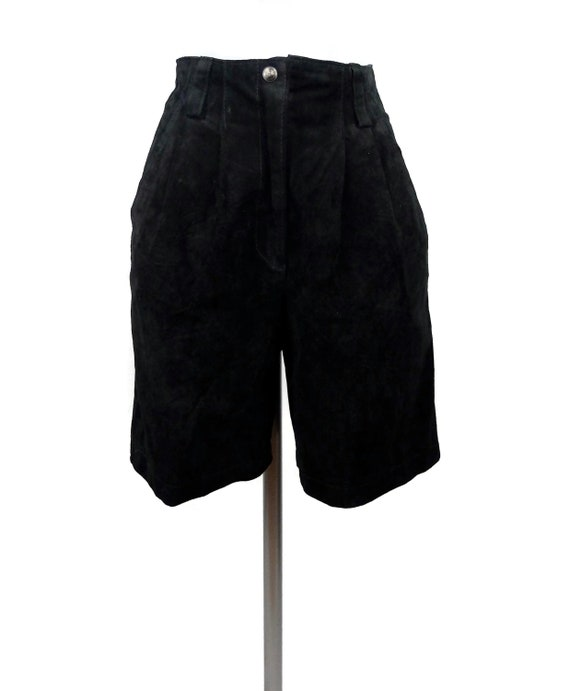 Vintage 1970's Black Suede Leather High Waisted Be