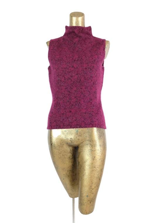 Vintage 90s Angora Glitter Turtleneck Sleeveless S
