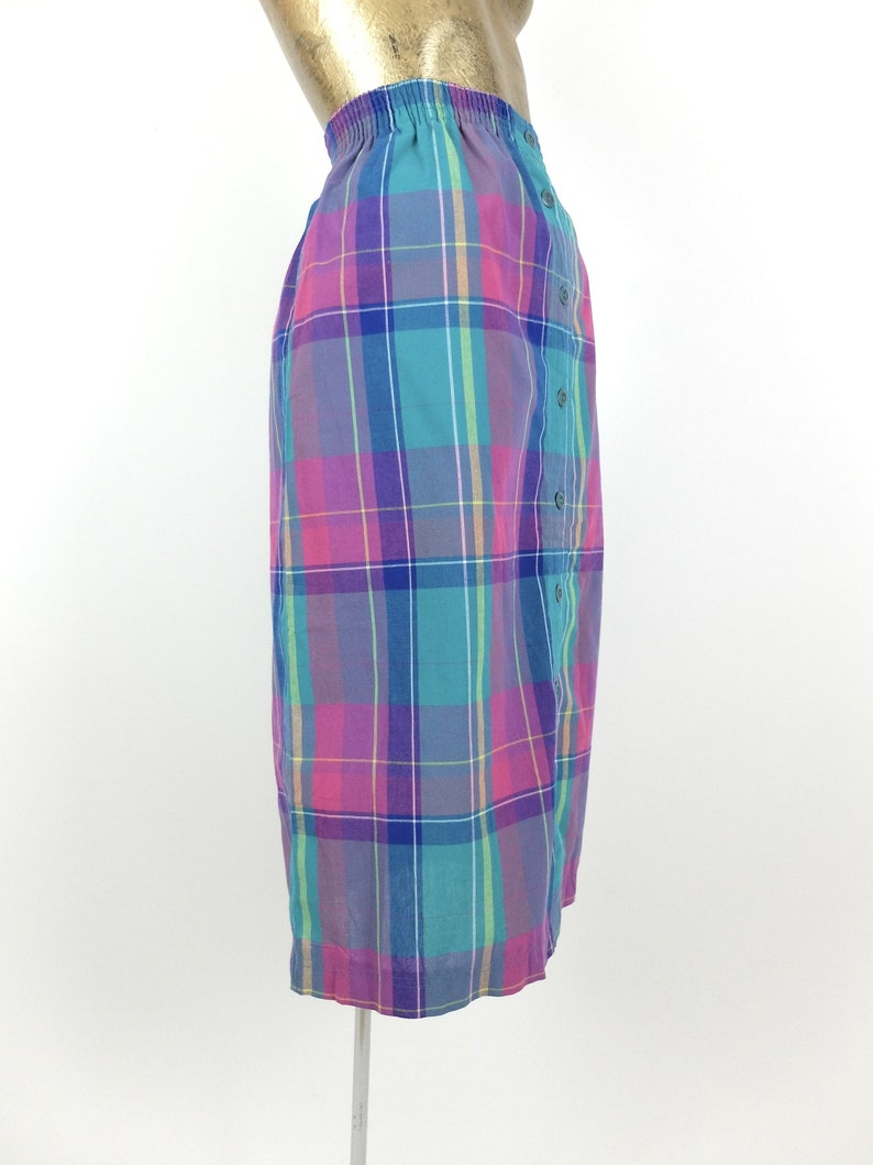 Vintage 80s Check Print High Waisted Button Down Midi Skirt with Pockets