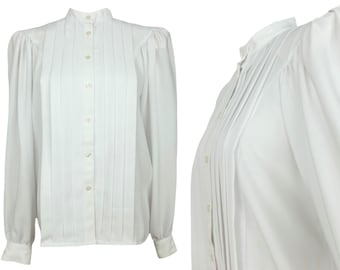 Vintage 80s White Mockneck Long Sleeve Button Up Blouse | Avant Garde Bohemian Structured Boxy High Neck with Shoulder Pads | Size Medium