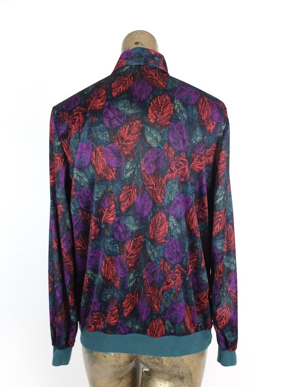Vintage 70s Abstract Long Sleeve Silky Pussy Bow … - image 7