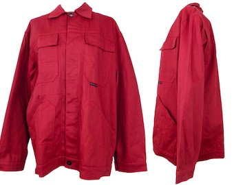Vintage 80s Men's Red Utility Jacket | Workwear Deadstock Solid Basic Red Collared Button Down with Large Pockets | Men's L, Women's XXL
