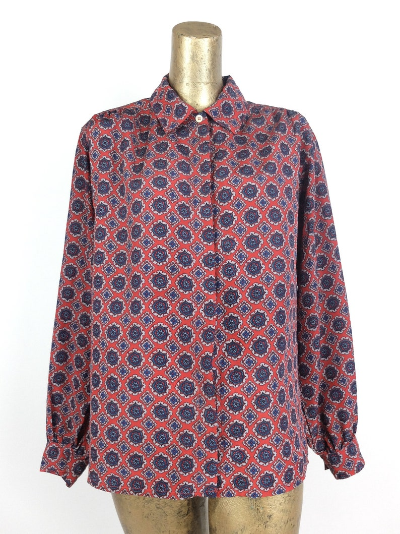Vintage 70s Mod Psychedelic Geometric Abstract Print Collared Long Sleeve Button Up Shirt