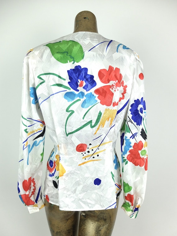 70s Silky Abstract Floral Long Sleeve Button Up V… - image 6