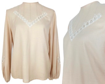 Vintage 70s Peasant Long Sleeve Blouse | Prairie Cottagecore Milkmaid Mod Hippie Peach High Neck with White Lace Cutout | Size Small-Medium