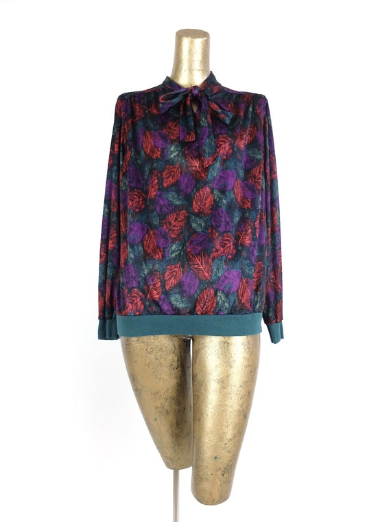 Vintage 70s Abstract Long Sleeve Silky Pussy Bow … - image 4