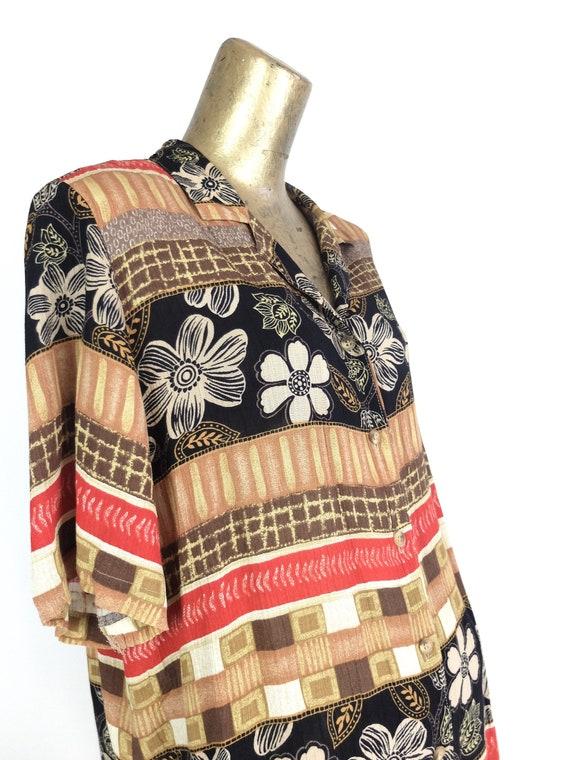 70s Hawaiian Floral Striped Half Sleeve Collared … - image 3