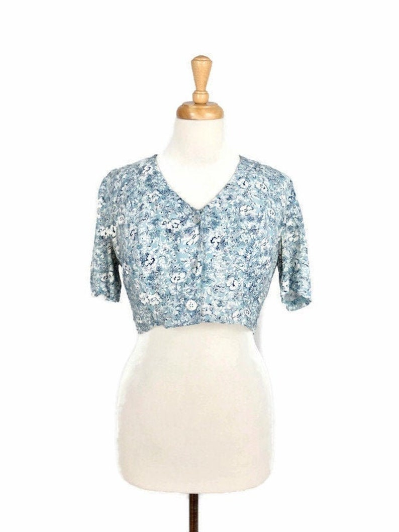 Vintage 1980/'s Floral Short Sleeve Button Up Crop Top Blouse