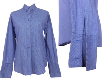 Vintage 80s Mod Blue Gingham Long Sleeve Cotton Button Up Shirt | Check Print Collared Fitted Dress Shirt with Oversized Cuffs | Size S-M