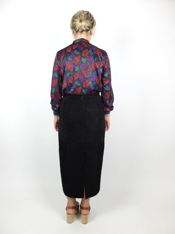 Vintage 70s Abstract Long Sleeve Silky Pussy Bow … - image 3