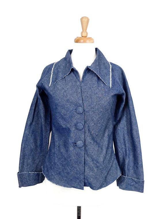 Vintage 1970's Denim Jacket with Oversized Collar
