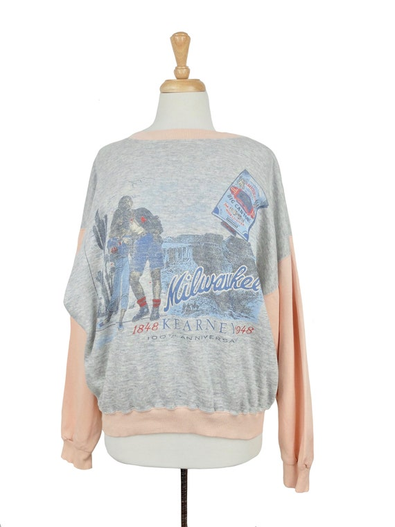 Vintage 1970's does 40's Pink and Grey Pullover Mi