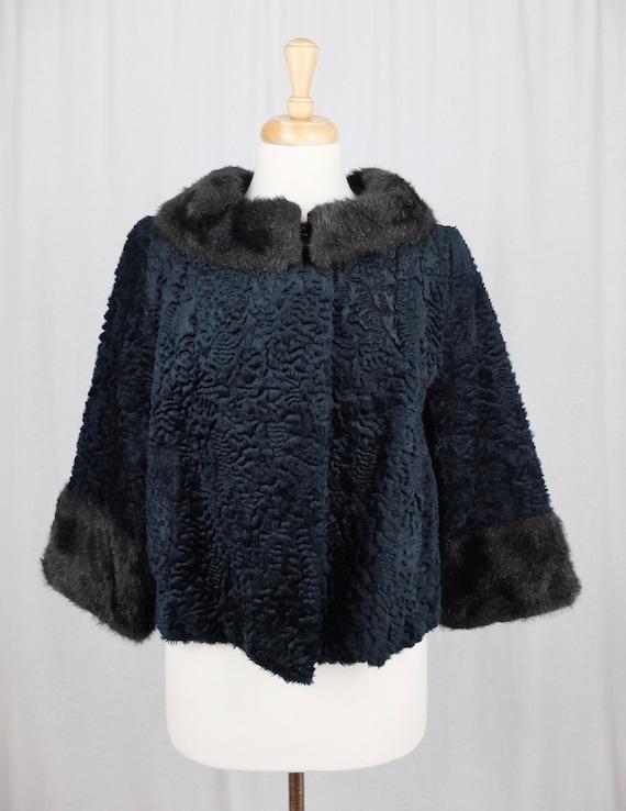 Vintage 1940's Mod Style Black Sheepskin and Fur … - image 2