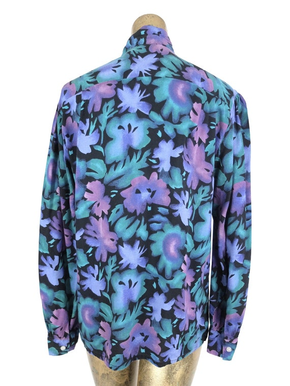 70s Romantic Mod Floral Long Sleeve Button Up Pus… - image 7