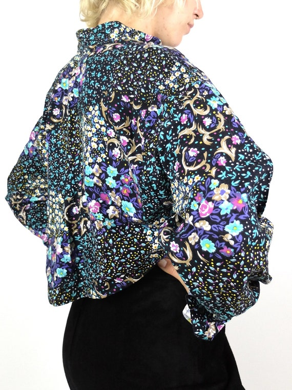 70s Western Prairie Psychedelic Floral Ruffled Lo… - image 3