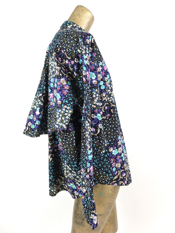 70s Western Prairie Psychedelic Floral Ruffled Lo… - image 8
