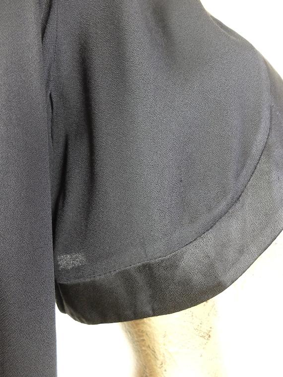 Vintage 90s Formal Basic Black Cropped Open Cardi… - image 8
