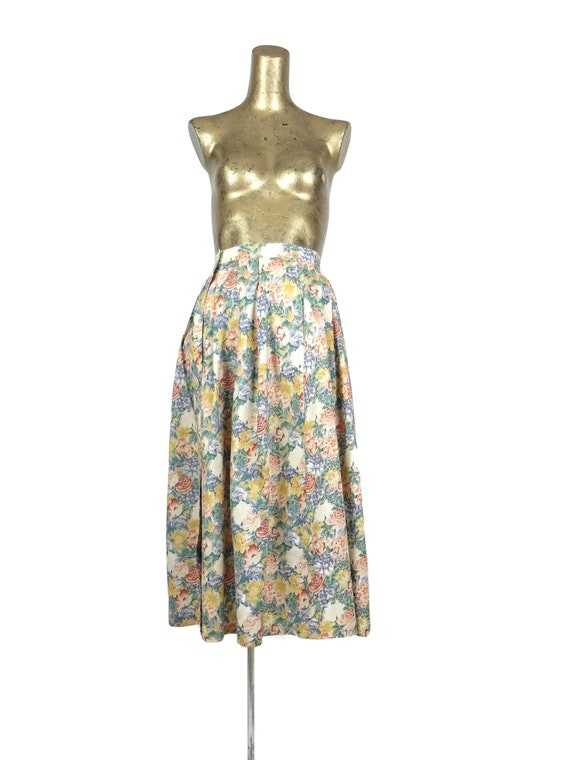 Vintage 80s Romantic Floral High Waisted Full Maxi