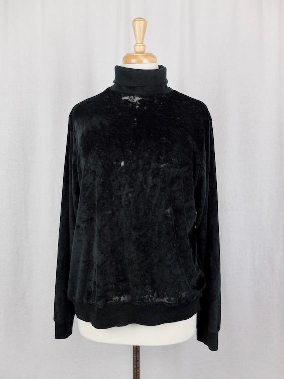 Vintage 1970's Mod Black Velour Velvet Turtleneck