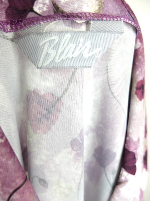 70s Mod Purple Floral Collared Long Sleeve Button… - image 5