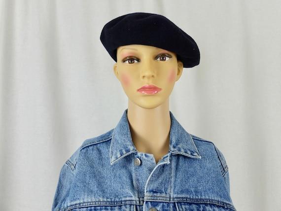 Vintage 1960's Black Wool Beret