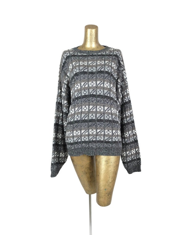 Vintage Unisex Cream Oversized Aztec Print Pullover Knitted Sweater