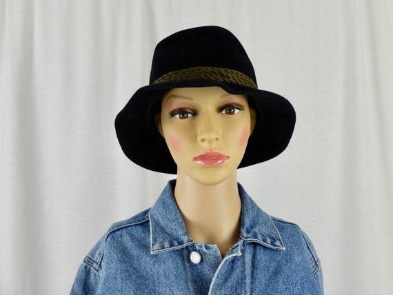 Vintage 1970's Black Velour Brimmed Fedora Hat