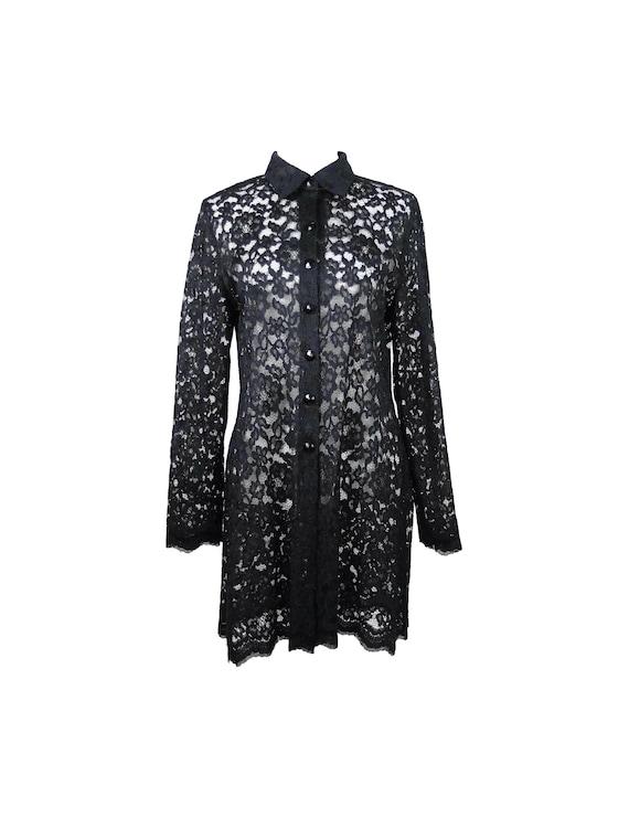 Vintage 80s Romantic Black Floral Lace Collared Bu