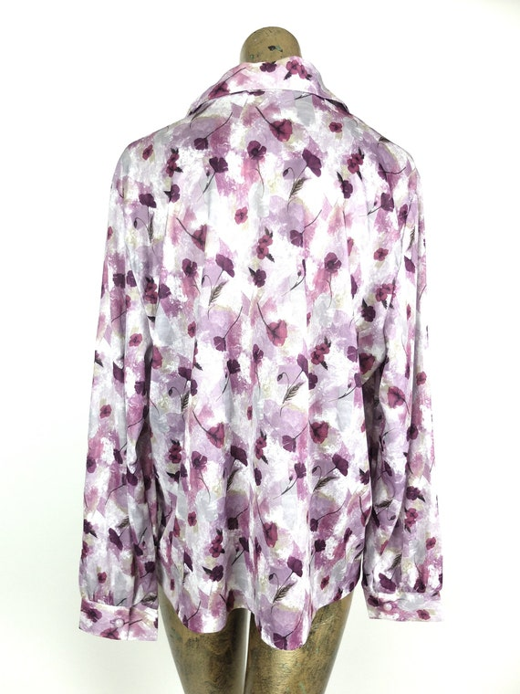 70s Mod Purple Floral Collared Long Sleeve Button… - image 4