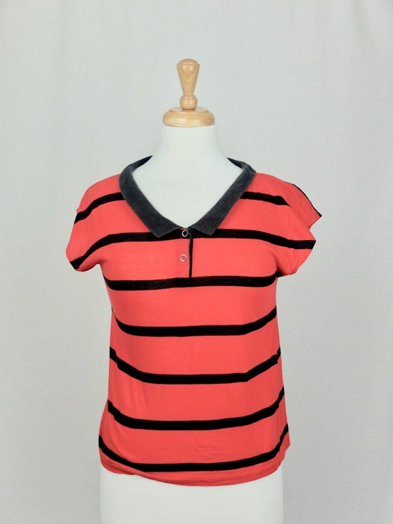 Vintage 1970's Striped Nautical Collared T-Shirt