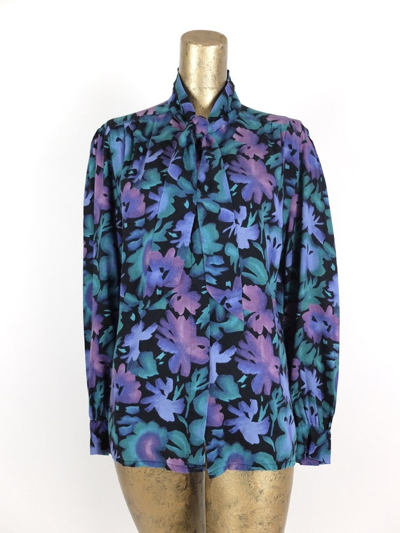 70s Romantic Mod Floral Long Sleeve Button Up Pus… - image 5