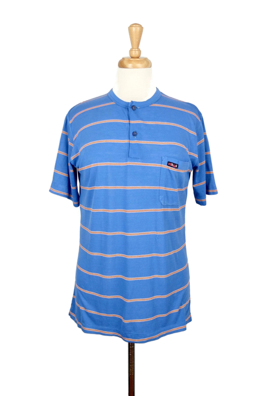 1970s Men's Shirt Styles – Vintage 70s Shirts for Guys Vintage 1970s 14 Button Up Striped Short Sleeve Crew Neck T-Shirt $25.50 AT vintagedancer.com