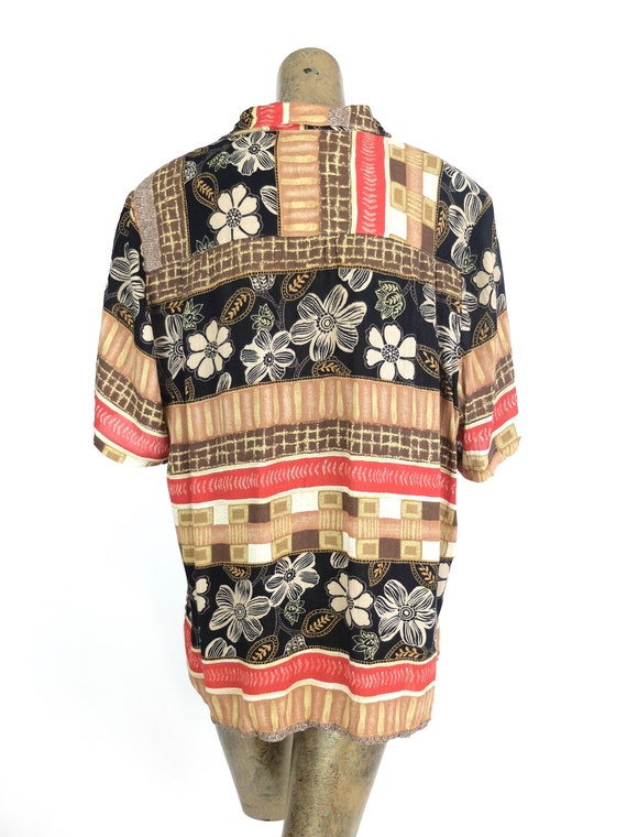 70s Hawaiian Floral Striped Half Sleeve Collared … - image 4