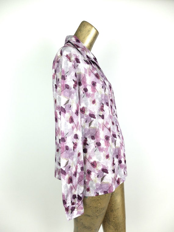 70s Mod Purple Floral Collared Long Sleeve Button… - image 3