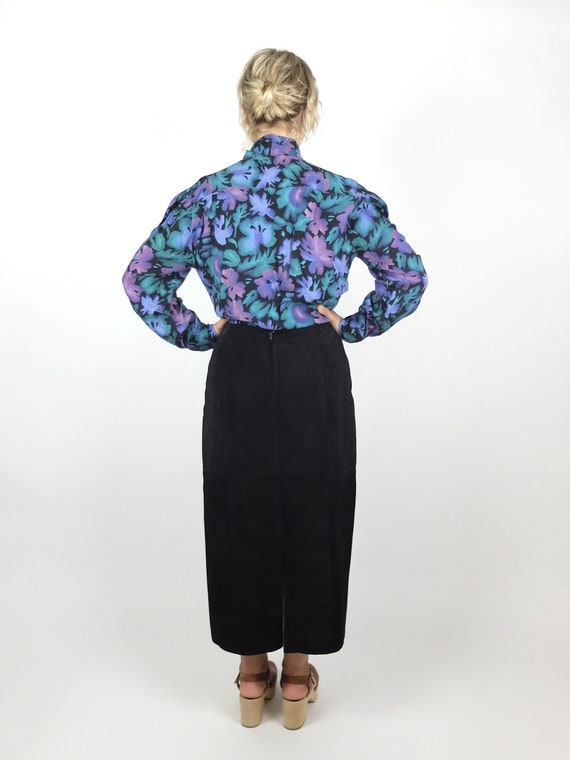 70s Romantic Mod Floral Long Sleeve Button Up Pus… - image 3
