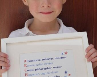 Children's Christening Gift, Children's Name Print, Personalised Name Print, Christening Gift, Kids  Birthday Gift, Naming Ceremony Gift