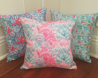 SALE 18 in pillow covers in Lilly pulitzer inspired fabric with monogram option.